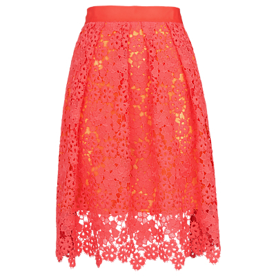 Meadow Lace Skirt, Pink - style: full/prom skirt; fit: loose/voluminous; waist: high rise; secondary colour: yellow; predominant colour: coral; length: on the knee; fibres: polyester/polyamide - 100%; occasions: occasion, creative work; hip detail: structured pleats at hip; waist detail: narrow waistband; texture group: lace; pattern type: fabric; pattern: patterned/print; pattern size: standard (bottom); season: s/s 2016