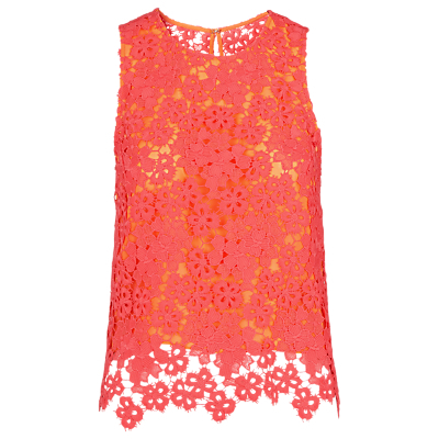 Meadow Lace Top, Pink - sleeve style: sleeveless; predominant colour: pink; secondary colour: bright orange; occasions: evening; length: standard; style: top; fibres: polyester/polyamide - 100%; fit: body skimming; neckline: crew; sleeve length: sleeveless; texture group: lace; pattern type: fabric; pattern size: standard; pattern: patterned/print; season: s/s 2016; wardrobe: event
