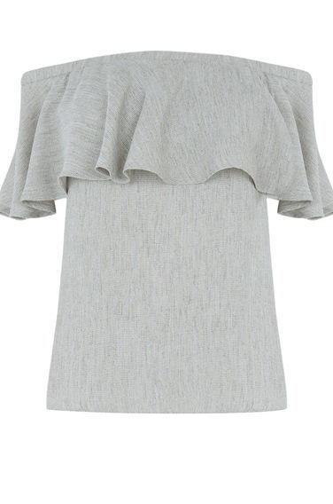 Off Shoulder Ruffle Top - neckline: off the shoulder; sleeve style: capped; pattern: plain; predominant colour: light grey; occasions: casual, creative work; length: standard; style: top; fibres: polyester/polyamide - 100%; fit: body skimming; sleeve length: short sleeve; bust detail: bulky details at bust; pattern type: fabric; texture group: woven light midweight; season: s/s 2016; wardrobe: highlight