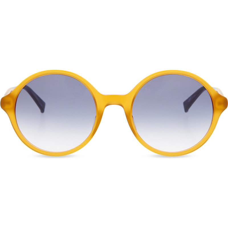 Light4 Round Frame Sunglasses, Women's, Yellow - predominant colour: gold; occasions: casual, holiday; style: round; size: standard; material: plastic/rubber; pattern: plain; finish: plain; season: s/s 2016; wardrobe: basic