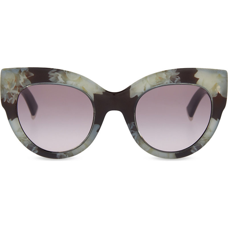Reddish Cat Eye Sunglasses, Women's, Black White Peony - predominant colour: black; occasions: casual, holiday; style: cateye; size: large; material: plastic/rubber; finish: plain; pattern: patterned/print; season: s/s 2016