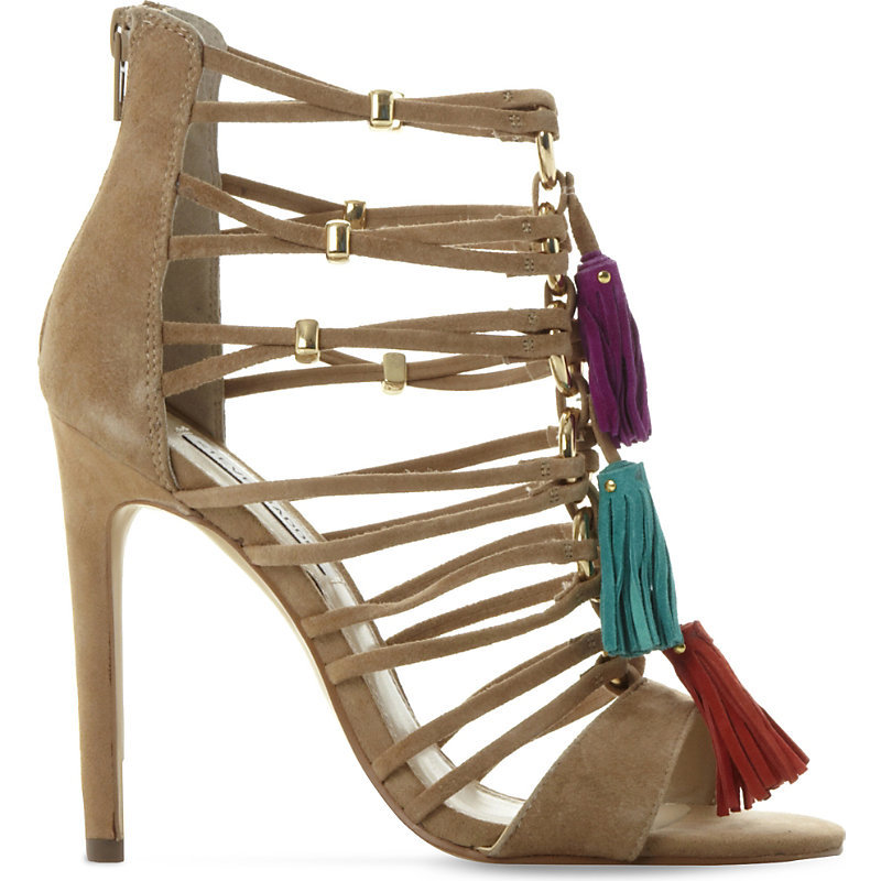 Rhonda Tasselled Suede Gladiator Sandals, Women's, Eur 36 / 3 Uk Women, Blush Suede - predominant colour: camel; occasions: evening, occasion; material: suede; embellishment: tassels; ankle detail: ankle tie; heel: stiletto; toe: open toe/peeptoe; style: strappy; finish: plain; pattern: plain; heel height: very high; season: s/s 2016