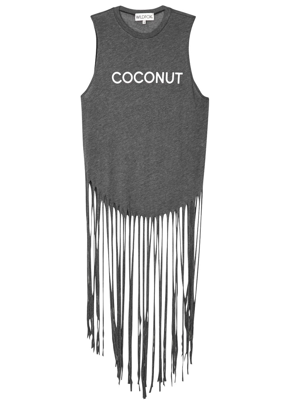 Gypsy Coconut Grey Fringed Cotton Tank - neckline: round neck; sleeve style: sleeveless; length: below the bottom; style: t-shirt; secondary colour: white; predominant colour: charcoal; occasions: casual, holiday; fibres: polyester/polyamide - mix; fit: straight cut; sleeve length: sleeveless; pattern type: fabric; texture group: jersey - stretchy/drapey; embellishment: fringing; pattern: graphic/slogan; season: s/s 2016; wardrobe: highlight; embellishment location: hem, hip