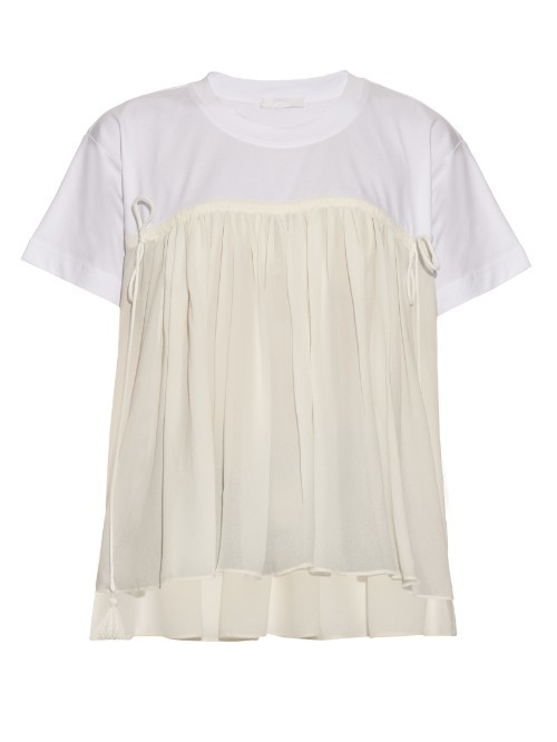 Ruffled Jersey Top - neckline: round neck; secondary colour: white; predominant colour: ivory/cream; occasions: casual, creative work; length: standard; style: top; fibres: cotton - 100%; fit: loose; back detail: longer hem at back than at front; sleeve length: short sleeve; sleeve style: standard; pattern type: fabric; pattern size: light/subtle; pattern: colourblock; texture group: jersey - stretchy/drapey; season: s/s 2016; wardrobe: highlight