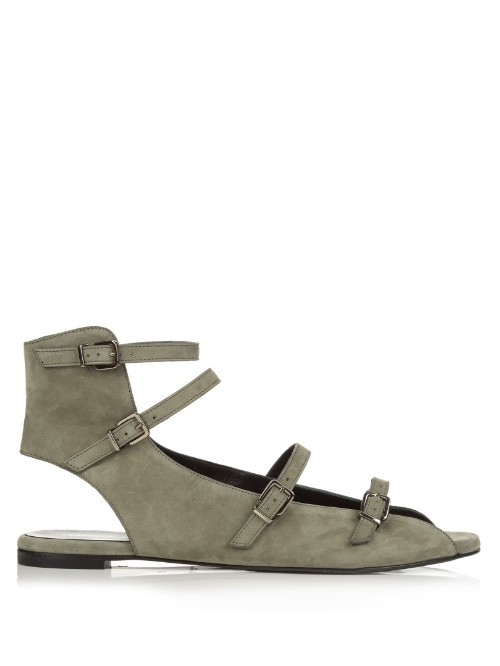 Glona Suede Sandals - predominant colour: mid grey; occasions: casual, creative work; material: suede; heel height: flat; embellishment: buckles; ankle detail: ankle strap; heel: block; toe: open toe/peeptoe; style: strappy; finish: plain; pattern: plain; season: s/s 2016; wardrobe: highlight