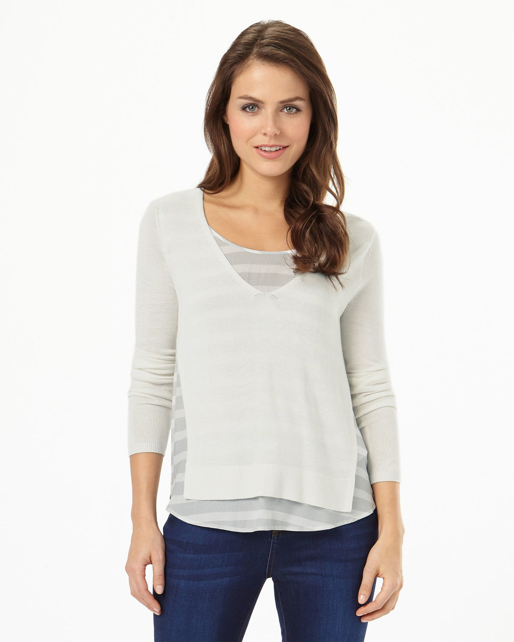 Alondra Stripe Knit - neckline: round neck; pattern: horizontal stripes; style: standard; predominant colour: ivory/cream; secondary colour: light grey; occasions: casual; length: standard; fibres: viscose/rayon - 100%; fit: slim fit; sleeve length: long sleeve; sleeve style: standard; texture group: knits/crochet; pattern type: fabric; multicoloured: multicoloured; season: s/s 2016