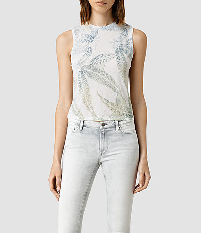 Fuji Eli Tee - sleeve style: sleeveless; predominant colour: white; secondary colour: light grey; occasions: casual; length: standard; style: top; fibres: cotton - mix; fit: body skimming; neckline: crew; sleeve length: sleeveless; pattern type: fabric; pattern: florals; texture group: jersey - stretchy/drapey; multicoloured: multicoloured; season: s/s 2016; wardrobe: highlight