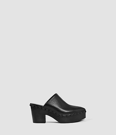Gabes Slip On Shoe - predominant colour: black; occasions: casual; material: leather; heel height: high; heel: block; toe: pointed toe; style: mules; finish: plain; pattern: plain; shoe detail: platform; season: s/s 2016