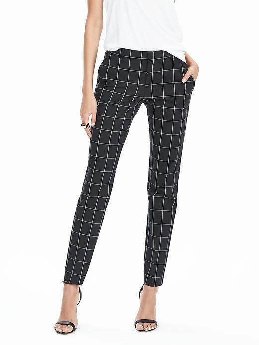 Ryan Fit Windowpane Slim Straight Pant Black Print - length: standard; pattern: checked/gingham; waist: mid/regular rise; secondary colour: light grey; predominant colour: black; occasions: casual; fibres: cotton - stretch; fit: slim leg; pattern type: fabric; texture group: other - light to midweight; style: standard; multicoloured: multicoloured; season: s/s 2016; wardrobe: highlight