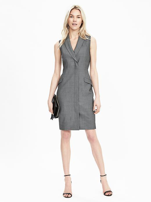 Sleeveless Tux Dress Smoke Gray - style: shift; neckline: v-neck; fit: tailored/fitted; pattern: plain; sleeve style: sleeveless; predominant colour: mid grey; occasions: evening; length: just above the knee; fibres: wool - stretch; sleeve length: sleeveless; pattern type: fabric; texture group: woven light midweight; season: s/s 2016; wardrobe: event