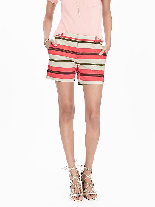 Stripe Pink Short Multi Stripe - waist: mid/regular rise; predominant colour: pink; occasions: casual, holiday; fibres: cotton - stretch; texture group: cotton feel fabrics; pattern type: fabric; pattern: horizontal stripes (bottom); multicoloured: multicoloured; season: s/s 2016; style: shorts; length: short shorts; fit: slim leg; wardrobe: holiday