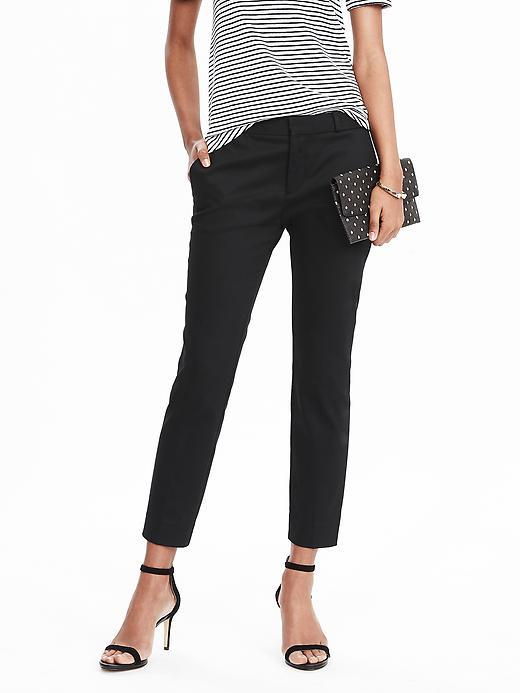 Avery Fit Sateen Crop Black - pattern: plain; waist: mid/regular rise; predominant colour: black; length: ankle length; fibres: cotton - mix; texture group: cotton feel fabrics; fit: slim leg; pattern type: fabric; style: standard; occasions: creative work; season: s/s 2016; wardrobe: basic
