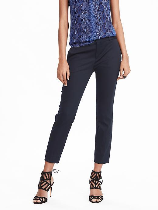 Avery Fit Sateen Crop Preppy Navy - pattern: plain; waist: mid/regular rise; predominant colour: navy; occasions: evening, work, creative work; length: ankle length; fibres: cotton - mix; texture group: structured shiny - satin/tafetta/silk etc.; fit: slim leg; pattern type: fabric; style: standard; season: s/s 2016; wardrobe: basic