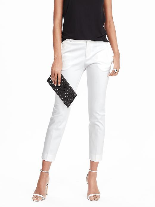 Avery Fit Sateen Crop White - pattern: plain; waist: mid/regular rise; predominant colour: white; occasions: casual, evening, creative work; length: ankle length; fibres: cotton - mix; texture group: structured shiny - satin/tafetta/silk etc.; fit: slim leg; pattern type: fabric; style: standard; season: s/s 2016
