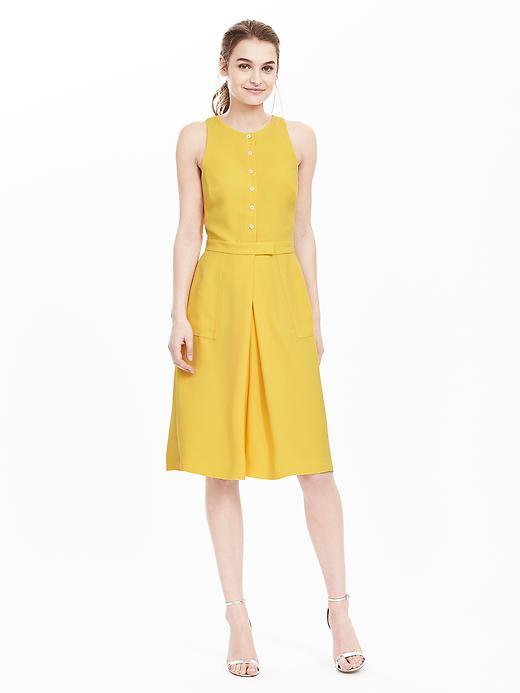 Button Front Crepe Pocket Dress Lemon Drop - pattern: plain; sleeve style: sleeveless; waist detail: fitted waist; predominant colour: yellow; occasions: casual, creative work; length: on the knee; fit: fitted at waist & bust; style: fit & flare; fibres: cotton - mix; neckline: crew; hip detail: adds bulk at the hips; sleeve length: sleeveless; texture group: cotton feel fabrics; pattern type: fabric; season: s/s 2016; wardrobe: highlight; embellishment location: bust