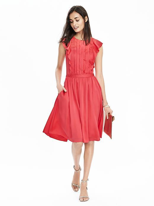 Pintuck Flutter Sleeve Dress Perfect Coral - sleeve style: capped; pattern: plain; predominant colour: pink; occasions: evening; length: on the knee; fit: fitted at waist & bust; style: fit & flare; fibres: polyester/polyamide - 100%; neckline: crew; sleeve length: short sleeve; pattern type: fabric; texture group: other - light to midweight; season: s/s 2016; wardrobe: event