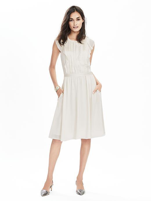 Pintuck Flutter Sleeve Dress Cocoon - neckline: round neck; sleeve style: capped; pattern: plain; bust detail: subtle bust detail; predominant colour: ivory/cream; length: on the knee; fit: fitted at waist & bust; style: fit & flare; fibres: polyester/polyamide - 100%; occasions: occasion, creative work; hip detail: subtle/flattering hip detail; sleeve length: sleeveless; texture group: sheer fabrics/chiffon/organza etc.; pattern type: fabric; season: s/s 2016; wardrobe: highlight