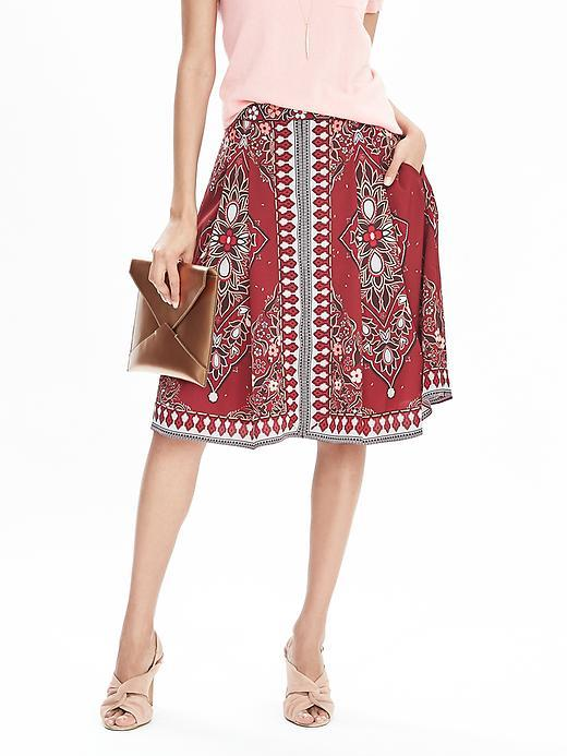 Geo Print Boho Skirt Boho Geo Floral Warm - length: below the knee; style: full/prom skirt; fit: loose/voluminous; waist: high rise; fibres: polyester/polyamide - 100%; occasions: occasion, creative work; pattern type: fabric; pattern: patterned/print; texture group: other - light to midweight; predominant colour: raspberry; season: s/s 2016; wardrobe: highlight