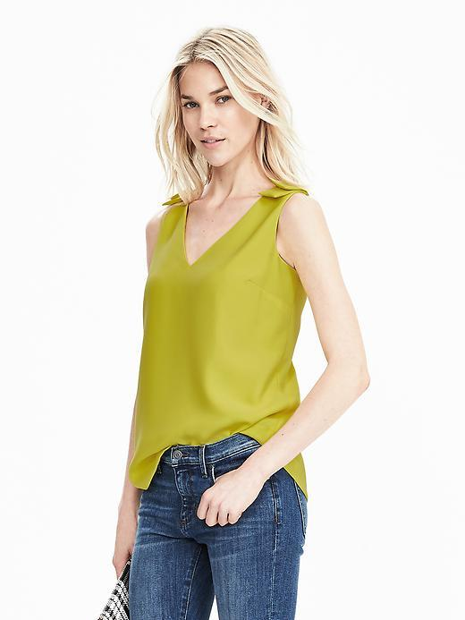 Sleeveless Double Vee Top Yellow - neckline: low v-neck; sleeve style: standard vest straps/shoulder straps; pattern: plain; predominant colour: mustard; occasions: casual; length: standard; style: top; fibres: polyester/polyamide - 100%; fit: body skimming; shoulder detail: added shoulder detail; sleeve length: sleeveless; texture group: silky - light; pattern type: fabric; season: s/s 2016; wardrobe: highlight