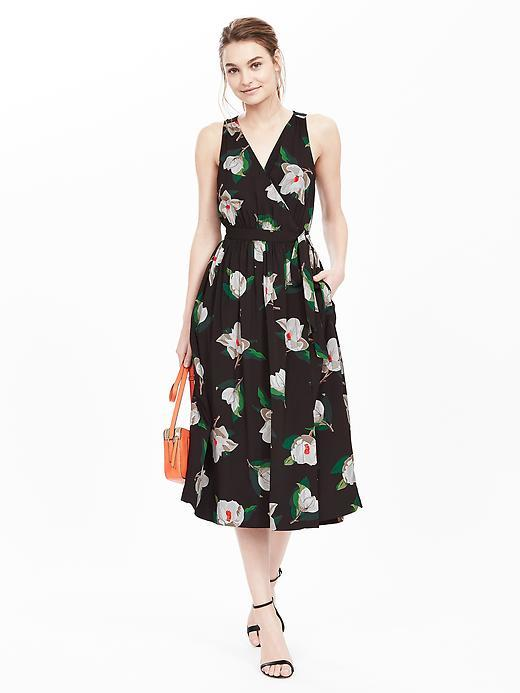 Floral Sleeveless Midi Dress Black - length: below the knee; neckline: v-neck; sleeve style: sleeveless; waist detail: belted waist/tie at waist/drawstring; predominant colour: black; fit: fitted at waist & bust; style: fit & flare; fibres: cotton - mix; occasions: occasion; hip detail: adds bulk at the hips; sleeve length: sleeveless; pattern type: fabric; pattern size: standard; pattern: florals; texture group: other - light to midweight; multicoloured: multicoloured; season: s/s 2016; wardrobe: event