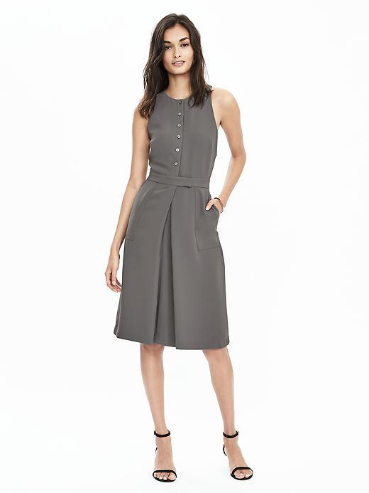 Sleeveless Button Pleat Dress Vintage Gray - pattern: plain; sleeve style: sleeveless; bust detail: buttons at bust (in middle at breastbone)/zip detail at bust; predominant colour: mid grey; occasions: casual, creative work; length: on the knee; fit: fitted at waist & bust; style: fit & flare; fibres: cotton - 100%; neckline: crew; hip detail: structured pleats at hip; sleeve length: sleeveless; texture group: cotton feel fabrics; pattern type: fabric; season: s/s 2016