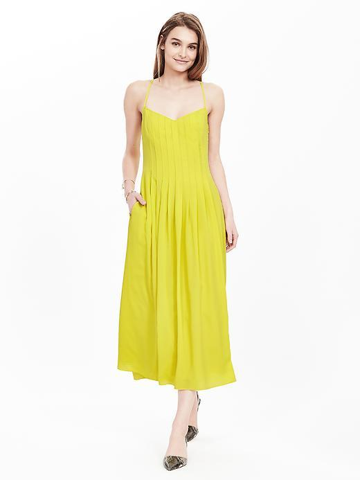 Strappy Pleated Dress Green - sleeve style: spaghetti straps; pattern: plain; style: sundress; length: ankle length; neckline: asymmetric; predominant colour: yellow; occasions: casual; fit: soft a-line; fibres: cotton - 100%; sleeve length: sleeveless; pattern type: fabric; texture group: other - light to midweight; season: s/s 2016; wardrobe: highlight