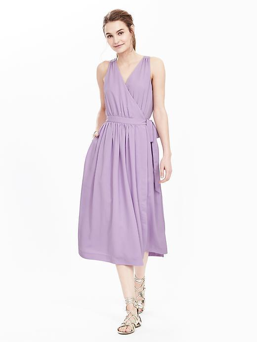 Sleeveless Cross Front Midi Dress Summer Lilac - style: faux wrap/wrap; length: below the knee; neckline: v-neck; pattern: plain; sleeve style: sleeveless; waist detail: belted waist/tie at waist/drawstring; bust detail: subtle bust detail; predominant colour: lilac; fit: fitted at waist & bust; fibres: cotton - 100%; occasions: occasion; hip detail: subtle/flattering hip detail; sleeve length: sleeveless; texture group: cotton feel fabrics; pattern type: fabric; season: s/s 2016; wardrobe: event