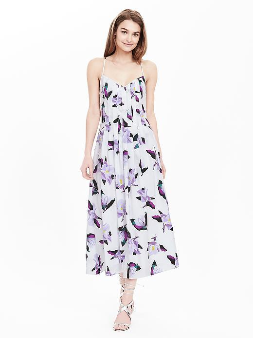 Pleated Strappy Floral Dress Cocoon - length: calf length; neckline: low v-neck; sleeve style: spaghetti straps; style: sundress; predominant colour: white; secondary colour: purple; fit: soft a-line; fibres: cotton - 100%; occasions: occasion; hip detail: subtle/flattering hip detail; sleeve length: sleeveless; texture group: cotton feel fabrics; pattern type: fabric; pattern size: standard; pattern: florals; season: s/s 2016; wardrobe: event