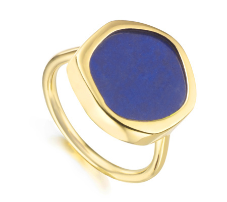 Gold Vermeil Atlantis Gem Ring Lapis - predominant colour: royal blue; secondary colour: gold; occasions: evening, occasion; style: cocktail; size: large/oversized; material: chain/metal; finish: metallic; embellishment: jewels/stone; season: s/s 2016; wardrobe: event