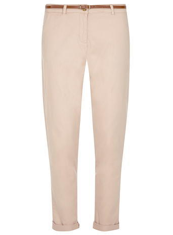 Womens Blush Chino Trousers Pink - pattern: plain; waist detail: belted waist/tie at waist/drawstring; waist: mid/regular rise; predominant colour: nude; occasions: casual; length: ankle length; style: chino; fibres: cotton - 100%; fit: slim leg; pattern type: fabric; texture group: woven light midweight; season: s/s 2016; wardrobe: basic