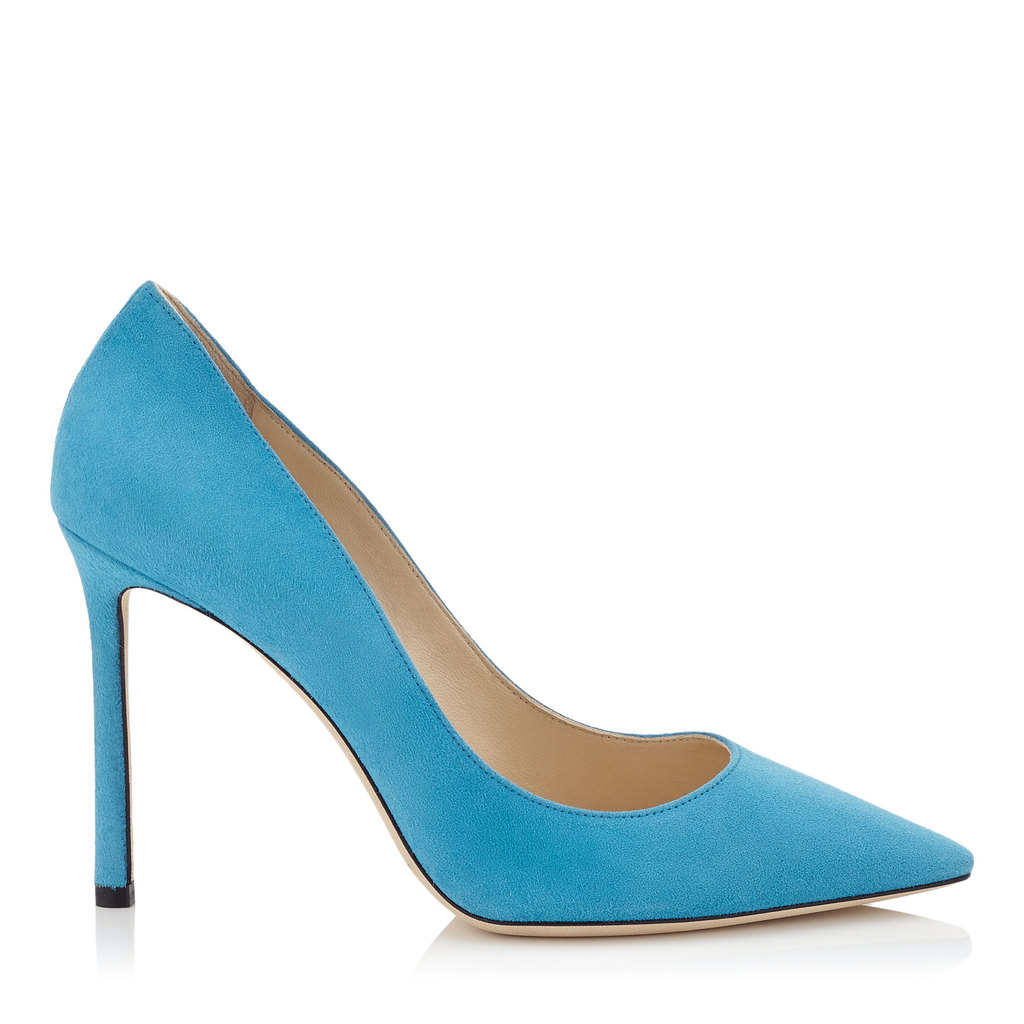 Romy 100 Robot Blue Suede Pointy Toe Pumps - predominant colour: turquoise; occasions: evening, occasion; material: suede; heel: stiletto; toe: round toe; style: courts; finish: plain; pattern: plain; heel height: very high; season: s/s 2016; wardrobe: event