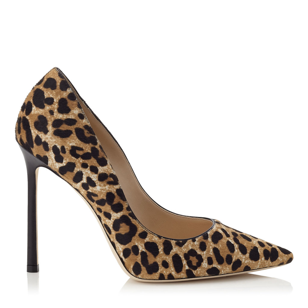 Romy 110 Leopard Print Pony Pointy Toe Pumps - predominant colour: tan; secondary colour: black; occasions: evening, occasion, creative work; material: animal skin; heel: stiletto; toe: pointed toe; style: courts; finish: plain; pattern: animal print; heel height: very high; season: s/s 2016; wardrobe: highlight