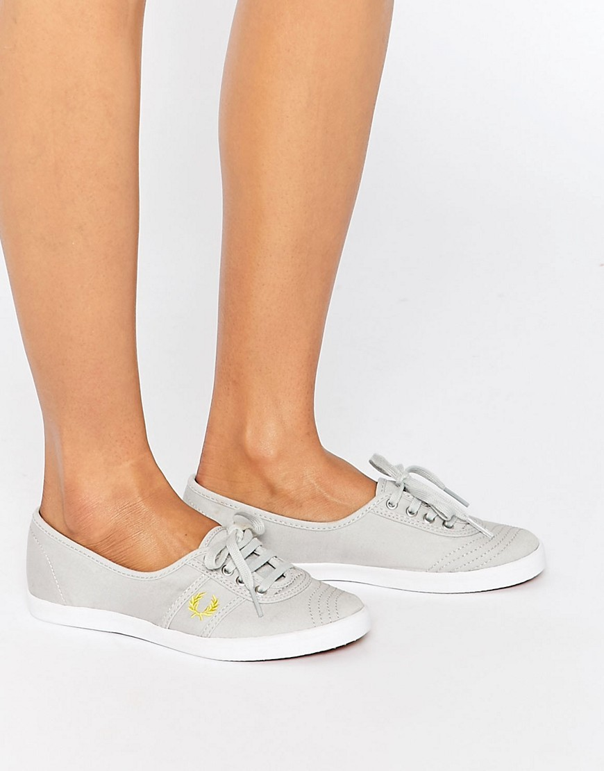 Aubrey Canvas Grey Plimsoll Trainers Grey - predominant colour: light grey; occasions: casual, creative work; material: fabric; heel height: flat; toe: round toe; style: trainers; finish: plain; pattern: plain; shoe detail: moulded soul; season: s/s 2016; wardrobe: highlight