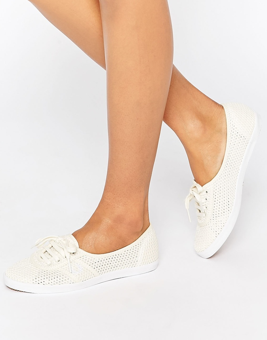 Aubrey Mesh Off White Plimsoll Trainers White - predominant colour: white; occasions: casual; material: fabric; heel height: flat; toe: round toe; style: trainers; finish: plain; pattern: plain; season: s/s 2016; wardrobe: basic
