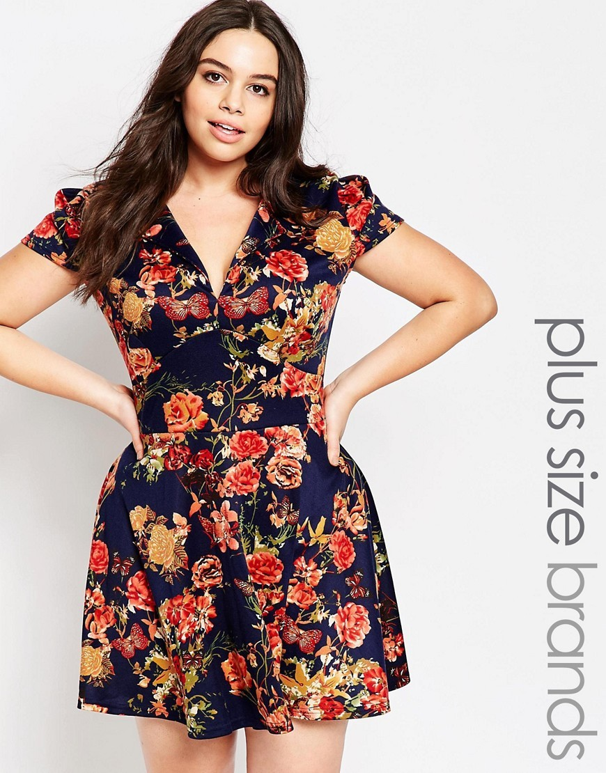 Plus Pam Floral Skater Dress With Open Neck Navy Floral - length: mini; neckline: low v-neck; secondary colour: true red; predominant colour: navy; fit: body skimming; style: fit & flare; fibres: polyester/polyamide - stretch; sleeve length: short sleeve; sleeve style: standard; pattern type: fabric; pattern: florals; texture group: jersey - stretchy/drapey; occasions: creative work; season: s/s 2016; wardrobe: highlight