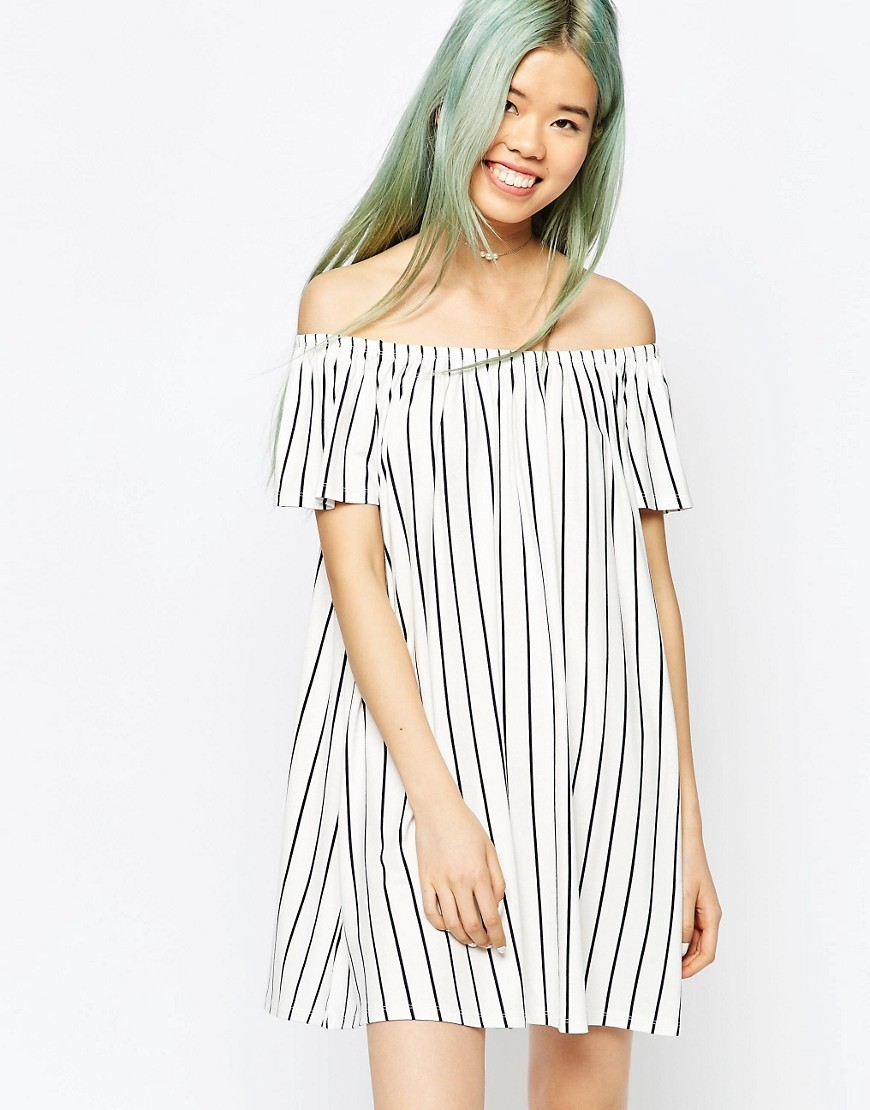 Off Shoulder Swing Dress In Vertical Stripe Cream/Navy - style: trapeze; length: mid thigh; neckline: off the shoulder; fit: loose; pattern: vertical stripes; predominant colour: white; secondary colour: navy; occasions: casual; fibres: cotton - 100%; sleeve length: short sleeve; sleeve style: standard; texture group: cotton feel fabrics; pattern type: fabric; season: s/s 2016; wardrobe: highlight