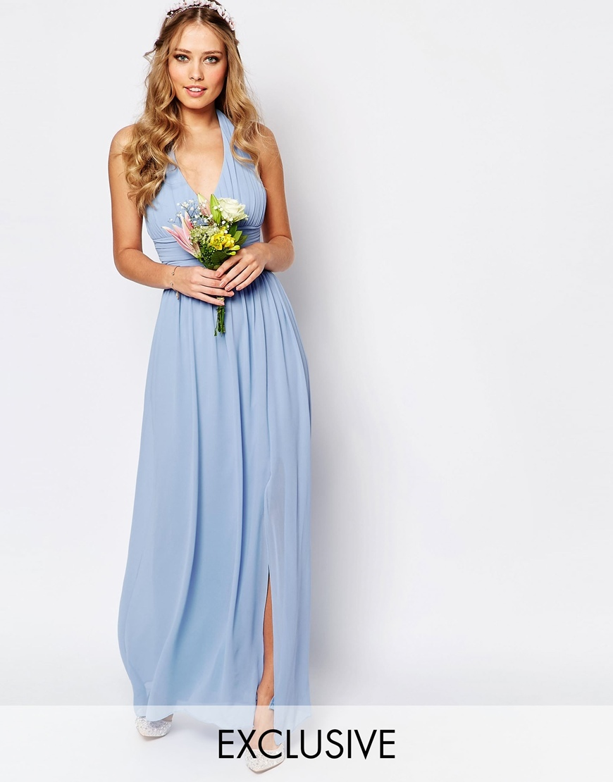 Wedding Halter Chiffon Maxi Dress Cashmere Blue - neckline: low v-neck; fit: empire; pattern: plain; sleeve style: sleeveless; style: maxi dress; length: ankle length; hip detail: draws attention to hips; bust detail: subtle bust detail; predominant colour: pale blue; fibres: polyester/polyamide - 100%; occasions: occasion; sleeve length: sleeveless; texture group: sheer fabrics/chiffon/organza etc.; pattern type: fabric; season: s/s 2016; wardrobe: event