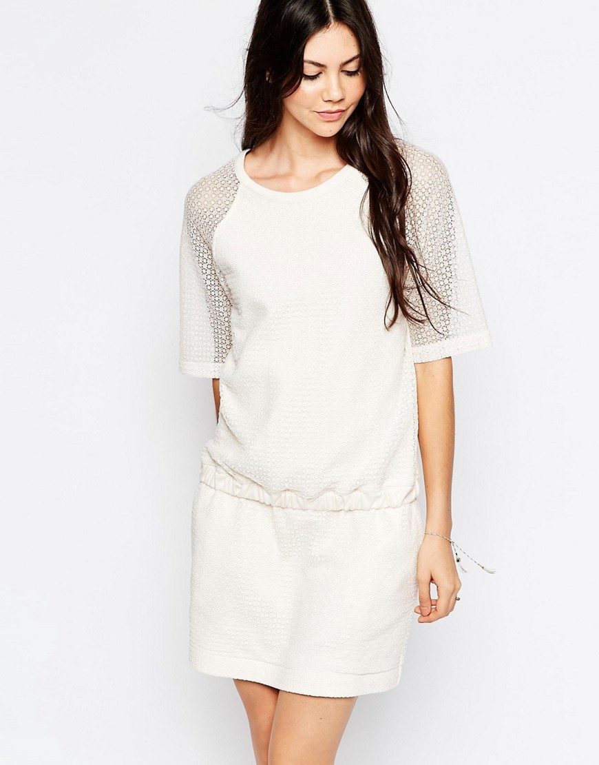 Textured Dress With Elasticated Waist White - length: mid thigh; neckline: round neck; pattern: plain; style: drop waist; predominant colour: white; occasions: casual; fit: body skimming; fibres: cotton - 100%; sleeve length: short sleeve; sleeve style: standard; pattern type: fabric; texture group: jersey - stretchy/drapey; season: s/s 2016; wardrobe: basic