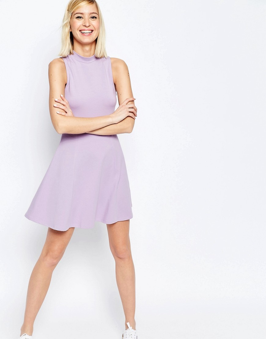 High Neck Empire Dress Dusty Lilac - length: mid thigh; pattern: plain; sleeve style: sleeveless; neckline: high neck; predominant colour: lilac; fit: fitted at waist & bust; style: fit & flare; fibres: polyester/polyamide - mix; sleeve length: sleeveless; pattern type: fabric; texture group: jersey - stretchy/drapey; occasions: creative work; season: s/s 2016