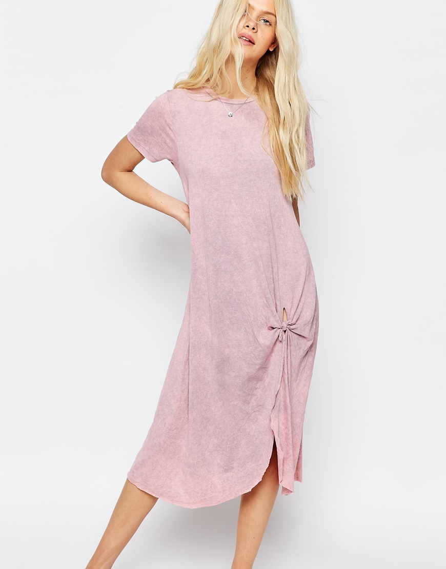 Casual Knot Front Midi T Shirt Dress Pink - style: t-shirt; length: below the knee; fit: loose; pattern: plain; predominant colour: pink; occasions: casual; fibres: cotton - stretch; neckline: crew; sleeve length: short sleeve; sleeve style: standard; pattern type: fabric; texture group: jersey - stretchy/drapey; season: s/s 2016; wardrobe: highlight