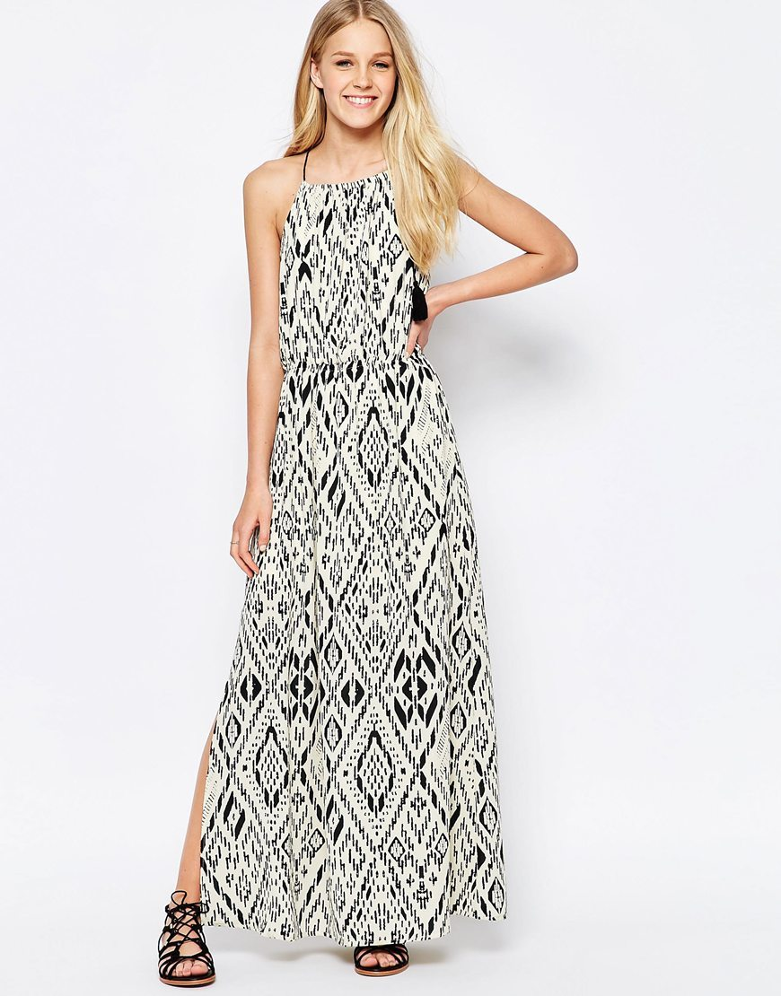 Aztec Maxi Dress Bone White W. Aop - neckline: round neck; sleeve style: sleeveless; style: maxi dress; length: ankle length; secondary colour: white; predominant colour: black; occasions: casual, holiday; fit: soft a-line; fibres: polyester/polyamide - 100%; sleeve length: sleeveless; pattern type: fabric; pattern size: standard; pattern: patterned/print; texture group: woven light midweight; season: s/s 2016; wardrobe: highlight