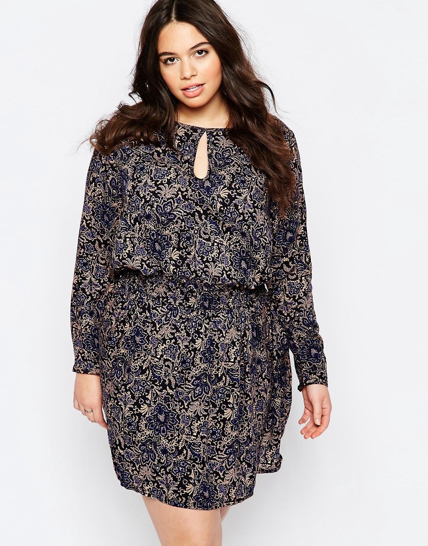 Plus Dress In Floral Print Navy/Beige - fit: fitted at waist; style: blouson; waist detail: elasticated waist; secondary colour: navy; predominant colour: black; occasions: evening; length: just above the knee; neckline: peep hole neckline; fibres: viscose/rayon - 100%; sleeve length: long sleeve; sleeve style: standard; pattern type: fabric; pattern size: standard; pattern: florals; texture group: woven light midweight; multicoloured: multicoloured; season: s/s 2016