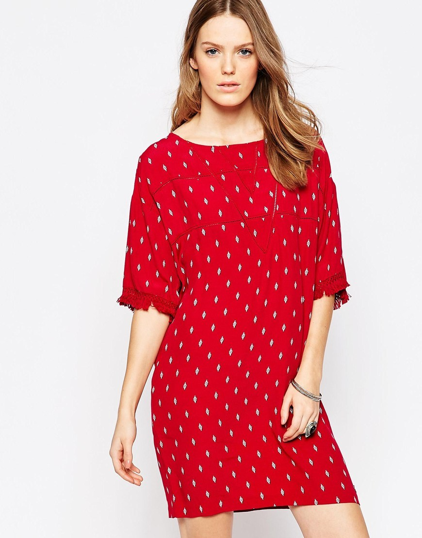 Kary Diamond Print Dress With Frayed Sleeve Detail 0aamulti - style: shift; neckline: round neck; predominant colour: true red; occasions: casual; length: just above the knee; fit: body skimming; fibres: viscose/rayon - 100%; sleeve length: 3/4 length; sleeve style: standard; pattern type: fabric; pattern size: standard; pattern: patterned/print; texture group: woven light midweight; season: s/s 2016; wardrobe: highlight