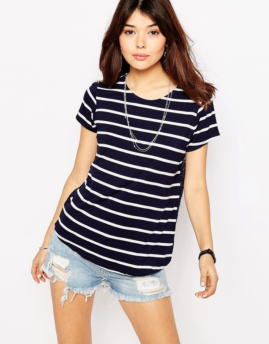Stripe Lace Back T Shirt Navy/Cream - neckline: round neck; pattern: horizontal stripes; style: t-shirt; secondary colour: ivory/cream; predominant colour: navy; occasions: casual; length: standard; fibres: viscose/rayon - stretch; fit: body skimming; sleeve length: short sleeve; sleeve style: standard; pattern type: fabric; texture group: jersey - stretchy/drapey; pattern size: big & busy (top); season: s/s 2016; wardrobe: basic