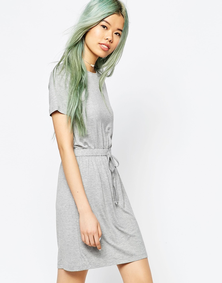Drawstring Waist T Shirt Dress Silver Grey Marl - style: t-shirt; length: mid thigh; pattern: plain; waist detail: belted waist/tie at waist/drawstring; predominant colour: light grey; occasions: casual; fit: body skimming; fibres: viscose/rayon - stretch; neckline: crew; sleeve length: short sleeve; sleeve style: standard; pattern type: fabric; texture group: jersey - stretchy/drapey; season: s/s 2016; wardrobe: basic
