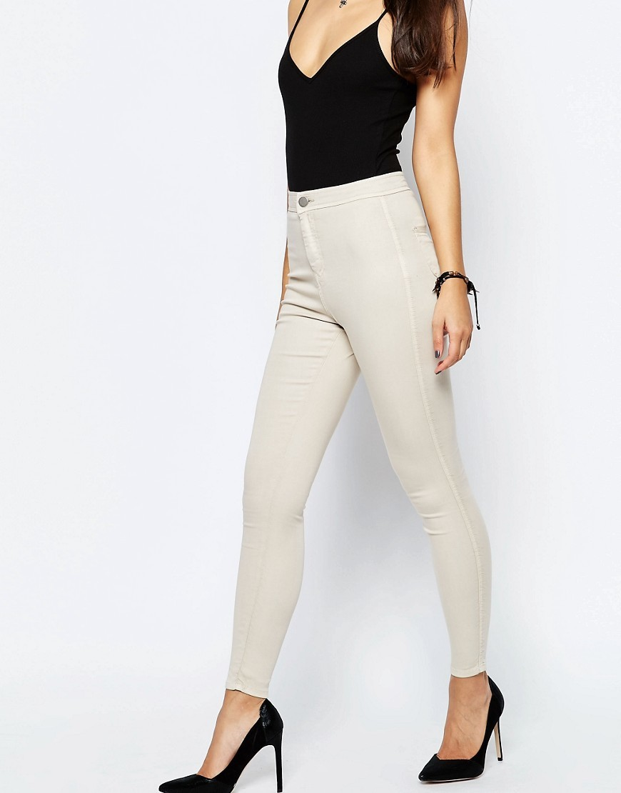 Rivington High Waisted Denim Jeggings In Stone Coloured Denim - style: skinny leg; length: standard; pattern: plain; waist: mid/regular rise; predominant colour: ivory/cream; occasions: casual; fibres: cotton - stretch; texture group: denim; pattern type: fabric; season: s/s 2016