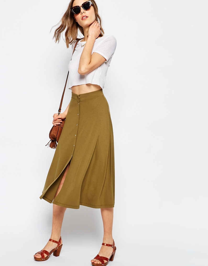 Midi Skater Skirt With Poppers Khaki - length: below the knee; pattern: plain; style: full/prom skirt; fit: loose/voluminous; waist: high rise; predominant colour: hot pink; occasions: casual, creative work; fibres: viscose/rayon - stretch; pattern type: fabric; texture group: jersey - stretchy/drapey; season: s/s 2016; wardrobe: highlight