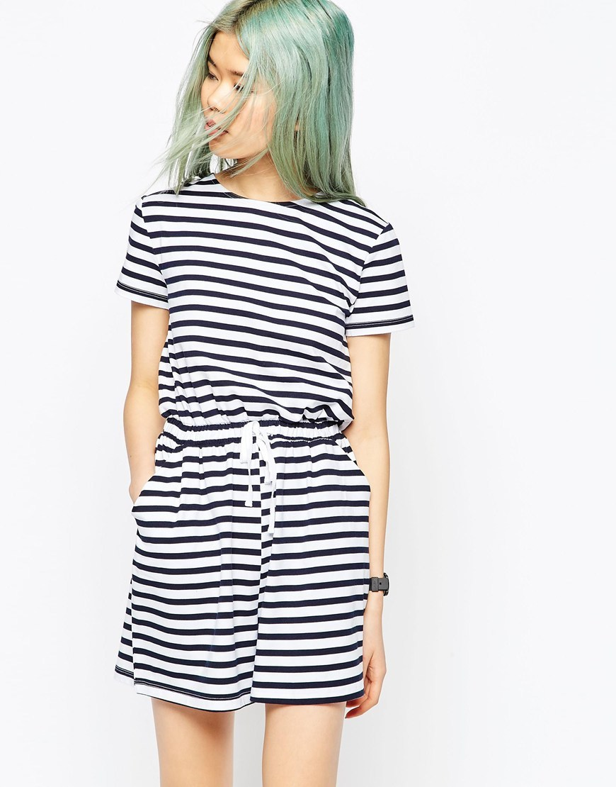 Stripe Casual Playsuit With Tie Multi - neckline: round neck; fit: fitted at waist; pattern: horizontal stripes; waist detail: belted waist/tie at waist/drawstring; length: mid thigh shorts; secondary colour: white; predominant colour: black; occasions: casual, holiday; fibres: cotton - 100%; sleeve length: short sleeve; sleeve style: standard; style: playsuit; pattern type: fabric; pattern size: big & busy; texture group: jersey - stretchy/drapey; season: s/s 2016
