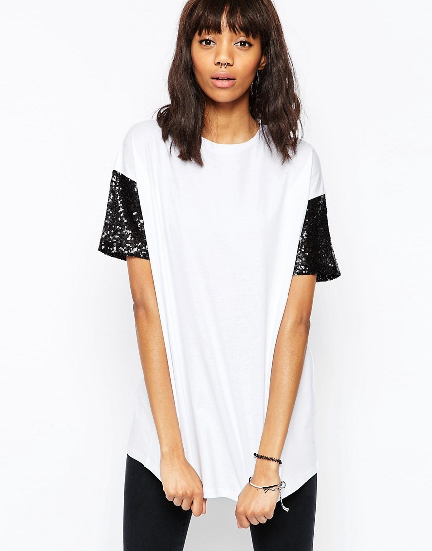 T Shirt With Sequin Sleeve White/Black - pattern: plain; style: t-shirt; predominant colour: white; secondary colour: black; occasions: casual; length: standard; fibres: cotton - 100%; fit: straight cut; neckline: crew; sleeve length: short sleeve; sleeve style: standard; pattern type: fabric; texture group: other - light to midweight; embellishment: sequins; season: s/s 2016; wardrobe: highlight