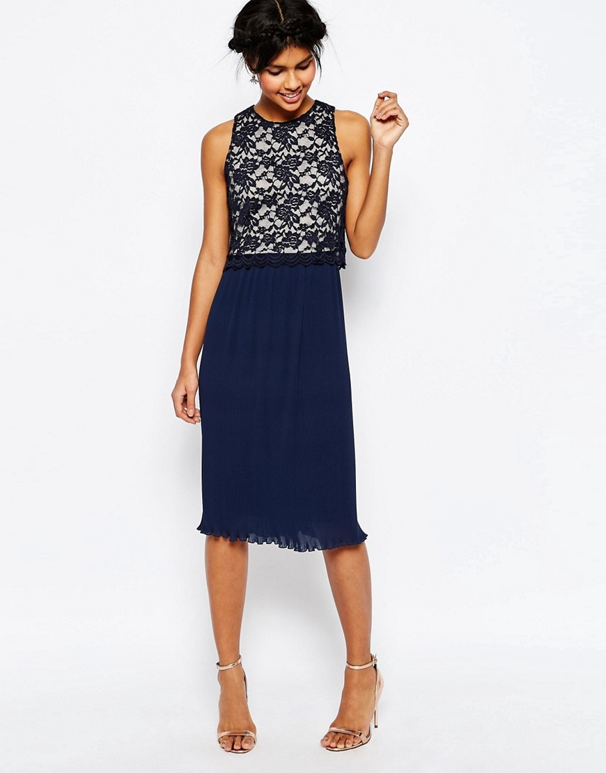Lace Top Pleated Midi Dress Navy - style: shift; length: below the knee; neckline: round neck; sleeve style: sleeveless; secondary colour: white; predominant colour: navy; occasions: evening, occasion; fit: soft a-line; sleeve length: sleeveless; texture group: lace; pattern type: fabric; pattern size: big & busy; pattern: patterned/print; fibres: nylon - stretch; embellishment: lace; season: s/s 2016; wardrobe: event; embellishment location: top